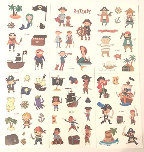 48 Tattoos (6 Sheets) Pirate Temporary Tattoo Fake Neverland Pirated Cannon Powder Jake Captain Tattoo Body Sticker for Pirate Birthday Party Favors Supplies Kids Boys Girls Party Bag Filler, setion B]()