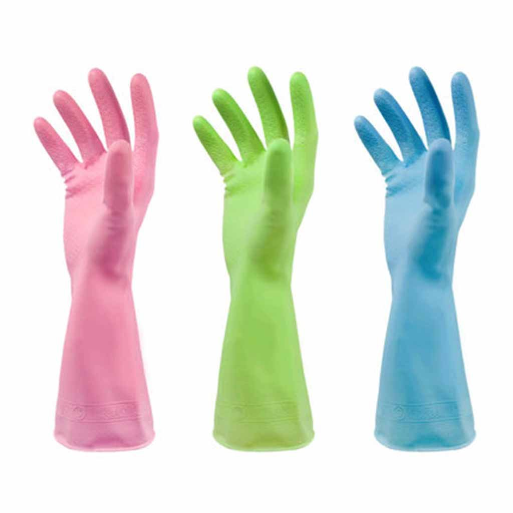 RenShiMinShop PVC non-slip durable gloves kitchen multifunctional waterproof oil gloves (Size : L)