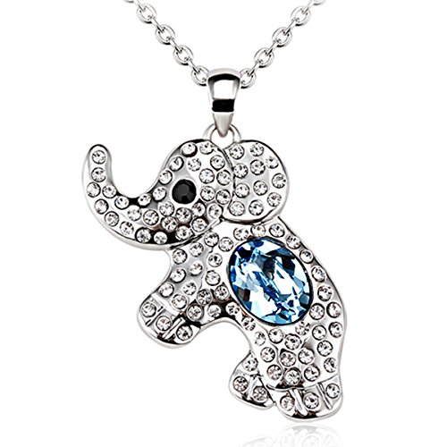 CODACE The Cute Elephant Pendant Necklace With Blue Austrian Crystal Rhodium Plating Chain 18'' (Beautiful Mens Jewelry)