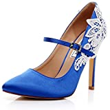 LUXVEER Satin Wedding Shoes Sexy Women Shoes with Rhinestone Lace Flowers Bridal Shoes High Heel 4.5 inch RS-2064 (5, Royal Blue)