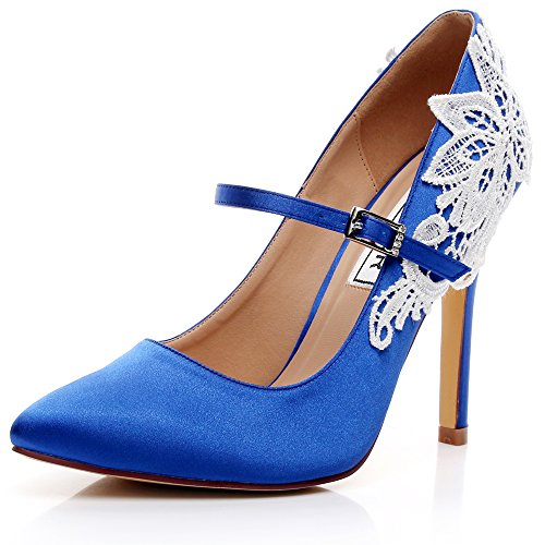 LUXVEER Satin Wedding Shoes Sexy Women Shoes With Rhinestone Lace Flowers Bridal  Shoes High Heel 4.5 Inch RS 2064 (10, Royal Blue)