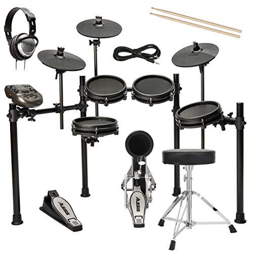 Alesis Nitro Mesh Drum Kit with Throne, Audio Technica Headphones, and Cable