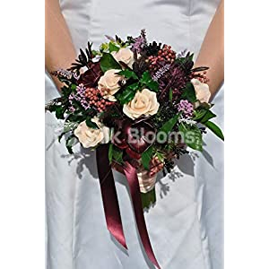 Silk Blooms Ltd Artificial Peach Rose and Purple Anemone Bridal Bouquet w/Preserved Pepperberries and Pittosporum Foliage 19