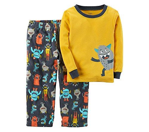(Carter's Boys' 12M-12 2 Piece Monster Cotton and Fleece Pajamas 8 )