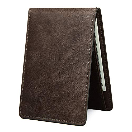 95a91b6fb Men's Slim Leather Wallet Small Billfold Front Pocket Wallet with RFID  Blocking ID window - Dark