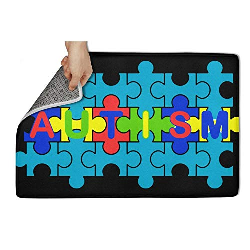 Motag Autism Speaks Walk Jigsaw Puzzle Non Slip Soft Indoor Doormat Bedroom Bathroom Pet Mats 23.5x15.5IN