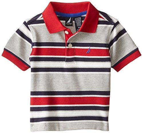 Baby Pique Polo - Nautica Baby Boys' Short Sleeve Stripe Pique Cotton Polo, Grey Heather, 18 Months