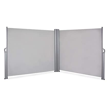 finest selection b5f2b d7366 Belleze 19.6 x 5.2FT Privacy Screen Shade Retractable Double Side Awning  Patio UV Waterproof Divider Fence, Gray