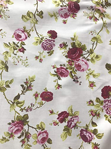 Daffodils Floral Carnation Poly Cotton Print Fabric by The Yard (White/red)