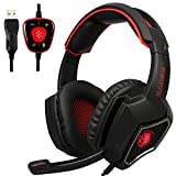 Sades Spirit Wolf USB 7.1 Surround Sound Gaming Headset Headphones with Microphone Volume Control Breathing LED Lights for PC (Black Red)