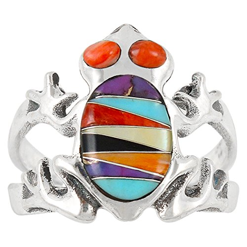925 Sterling Silver Frog Ring with Genuine Turquoise and Semiprecious Gemstones Size 6 to 11 (9)