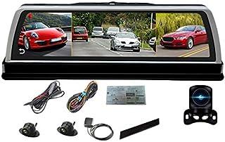 TOOGOO Dix Pouce Voiture Centre Console Miroir Dvr Dashcam 4G 4 Canaux Adas Android GPS WiFi Fhd 80 P Arrière Objectif Enregistreur Vidéo