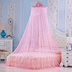Styles Closet Polyster Round Canopy Mosquito Net(Double Bed,6.5 * 6.5 ft) (Baby Pink)