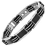 Willis Judd New Mens Titanium Magnetic Bracelet with Black Carbon Fiber Insets Free