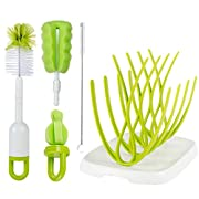Baby Bottle Brush Cleaning Set - with Bonus Drying Rack | Cleans All Kinds Of Baby Bottles & Accessories | Bottle Cleaning Brush | Ergonomic Non-Slip Grip | Bpa Free | Great Water Bottlebrush Cleaner