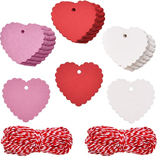 BBTO 150 Pieces Paper Gift Tags Heart Shape Hang Tag Labels with 40 Meters Rope for Valentine's Day Wedding Party (Red, White and Pink)