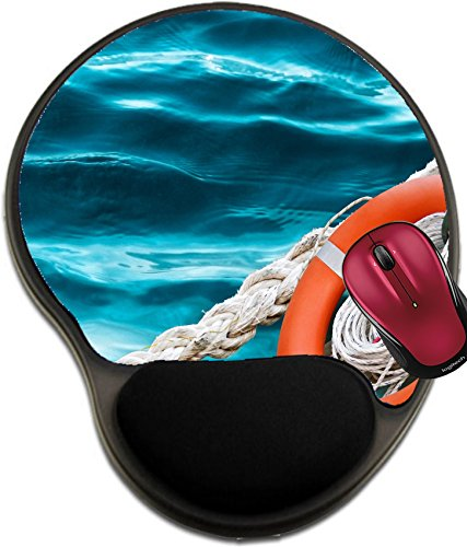 Liili Mousepad wrist protected Mouse Pads/Mat with wrist support design Life ring on the blue sea water Marine ropes and red lifebuoy rescue tools concept IMAGE ID 14225090