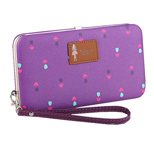Hard Flowers Ladies Purse 7 8 8 for Purple iPhone Wallet Leather Case Clutch Phone Plus X Pattern Long for Large 7 Wristlet Plus wRIqv0qx