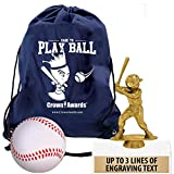 Crown Awards Baseball Goodie Bags, Baseball Favors for Baseball Themed Party Supplies Comes with Personalized Boys Baseball Kids Trophy, Squishball and Baseball Drawstring 20 Pack Prime