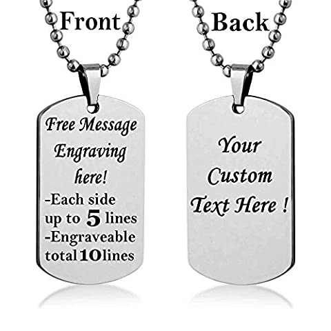 Personalized Custom Message Engrave Personalized Necklace Dog Tag Pendant Stainless Steel Chain Keyring (Silver Tone - Stainless Dog Tag Fashion Necklace
