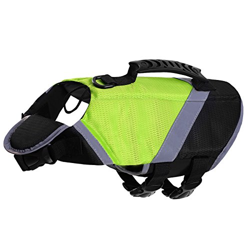 SAWMONG Dog Life Jacket, Pet Swim Vest, Dogs Life Preserver, Floatation Coat with Reflective Stripe Bulldog Terrier Corgis Saver in Orange Green for Small Medium Large Dogs Swimming Boating Hunting by SAWMONG