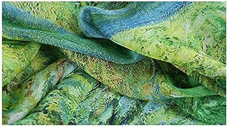 prettystern 100/% Seta Stola Blu XXL Pittura Oversize Van Gogh Stampe Darte Fioritura Rami di Mandorlo