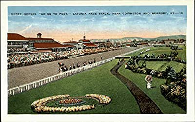 Derby Horses Going To Post Newport, Kentucky Original Vintage Postcard