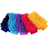 VVHOOY Car Wash Mitt Microfiber with Double Sided,Extra Large Size Premium Microfiber Chenille Scratch Free Soft Super Absorbent Glove (5 PCS)