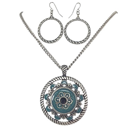 (Round Medallion Pendant Statement Necklace & Earring Set - Assorted Colors (Blue Silver Tone))