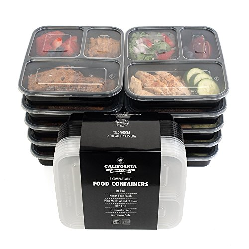 California Home Goods 3 Compartment Reusable Food Storage Containers, Set of 10