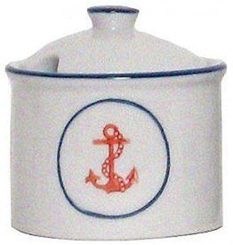 Porcelain Blue & White Nautical Anchor Sugar Bowl, Set of 2 - 8oz. - - Bowl Sugar Anchor