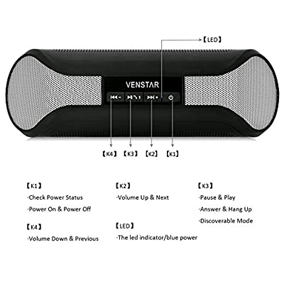 Bluetooth Speaker, Portable Wireless Stereo Speaker and Speakerphone with 2 X 3w Surround Sound Boombox Buddy Speaker Ultra Bass Subwoofer Speaker, NFC Function Mic for All Phones and Tablet Iphone Samsung Nexus Laptops Computers Mp3 Player (Silver)