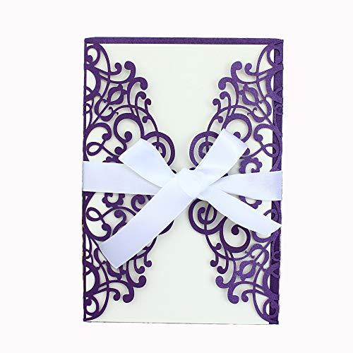 NATURE WORSHIP 50-Pcs Exquisite Carving Wedding Invitation Kits with Silk Ribbon, Purple ()