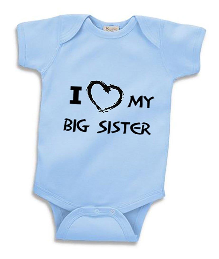 ''I Love My Big Sister'' Infant Bodysuit (6 Months, Light Blue)