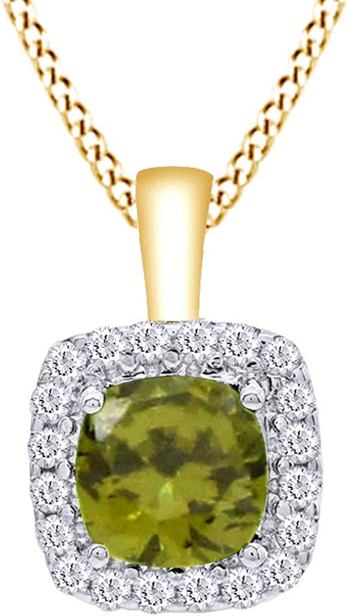 AFFY Simulated Peridot /& White Cubic Zirconia Cushion Frame Pendant Necklace in 14k Gold Over Sterling Silver