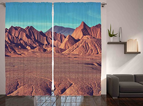 Western Decor Mountain Southwest Argentina Desert Sand Hike Nature Themed Volcano Curtains for Living Room Kids Room Teenage Art Prints Decoration Panels Set of Two, 108 x 84 Inches, Brown Blue Themed Christmas Presents