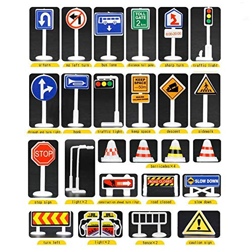 Wenini 28 Pcs Traffic Road Signs Educational Toys, Car Toy Accessories Traffic Road Signs Kids Children Play Learn Toy Game (A) by Wenini (Image #7)