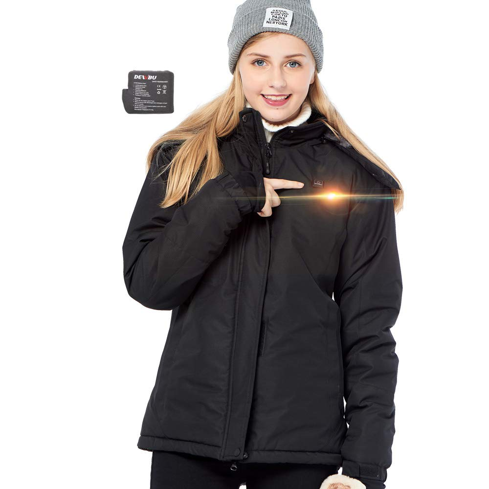 DEWBU Heated Jacket for Women with 7.4V Battery Warming Winter Outdoor Heating Coat for Hiking