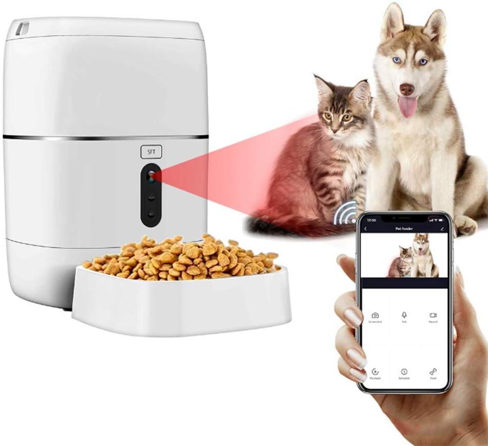 WAWZNN Comedero Automatico para Perros con Cámara 1080P, Gatos Dispensador Admite Alimentación Remota, con Doble Poder e Intercomunicador de Voz Grabado 4 Comidas/Día, 6L: Amazon.es: Hogar
