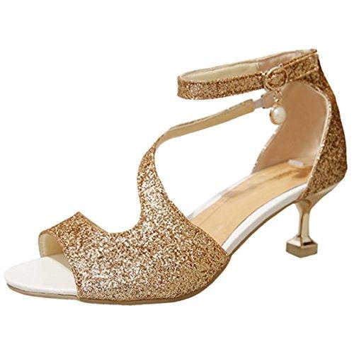 AIYOUMEI Damen Glitzer Knöchelriemchen Peep Toe Kleinem Absatz Sandalen mit 5cm Absatz Kitten Heel Sommer Schuhe Gold
