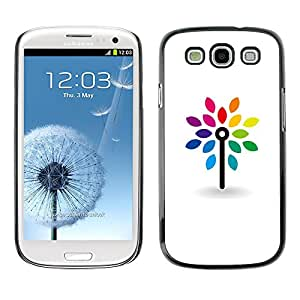 X-ray Impreso colorido protector duro espalda Funda piel de Shell para SAMSUNG Galaxy S3 III / i9300 / i747 - Clean White Minimalist Rainbow