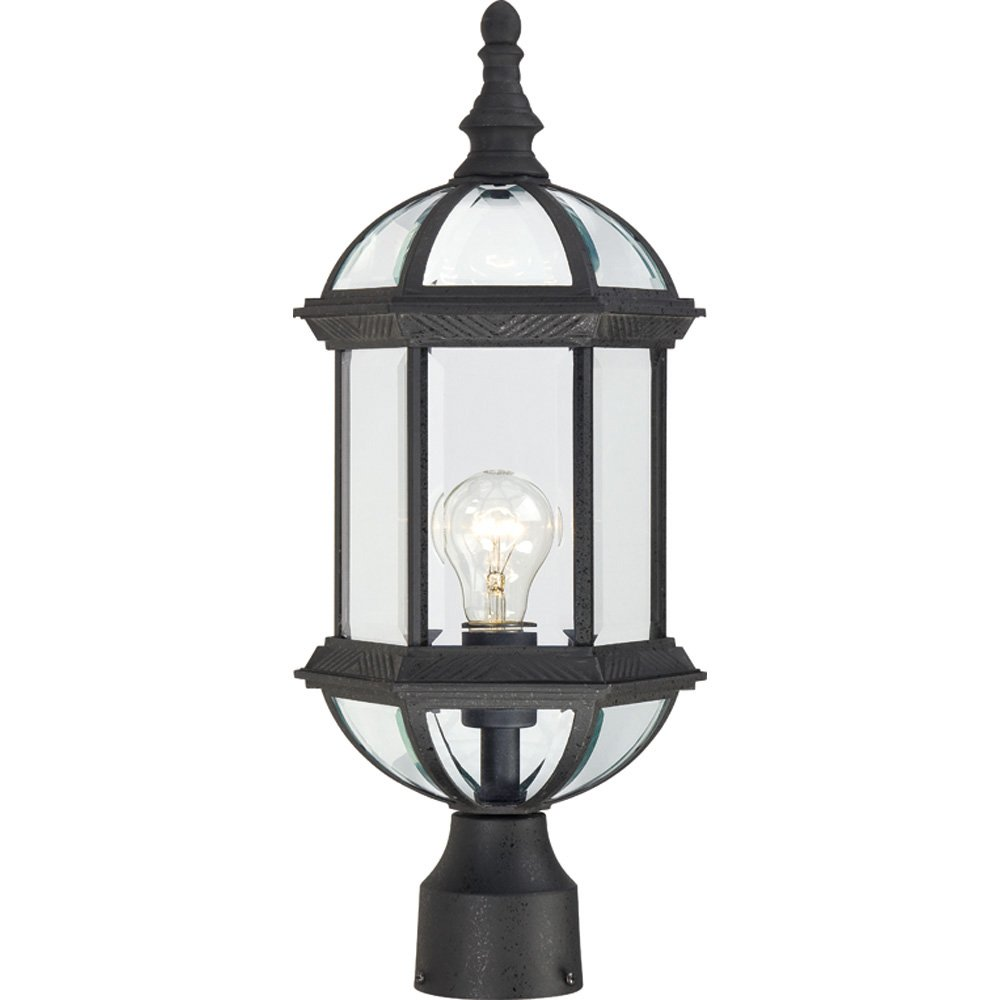 Nuvo Lighting 60/4976 Boxwood One Light Post Lantern 100 Watt A19 Max. Clear Beveled Glass Textured Black Outdoor Fixture