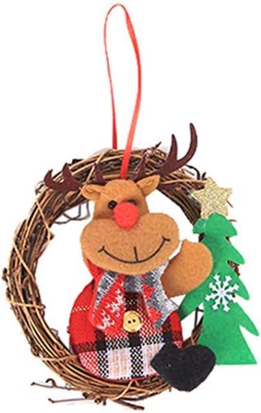 20 LED Christmas Deer Snowflake Dried Rattan Wreath Ring Garland Door Wall Decor