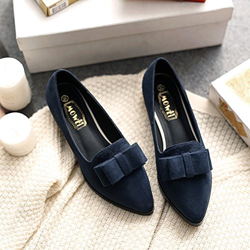 Aisun Damen Vintage Spitz Zehe Schleife Low Top Blockabsatz Slip On Loafer Slippers Dunkelblau