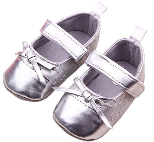 Smile YKK Liebe Mädchen Schuh Ballet Baby Lauflernschuhe Krabbelschuhe Klettverschluss Silber Silber