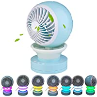 Lucstar Personal Portable Table Fan with Mist Humidifier Purifier,Table Lamp Gradient Changing Seven Colors,Powered by USB Charger,Quiet Design for Office Desk Bedroom Living Room Travel Car Gift Blue