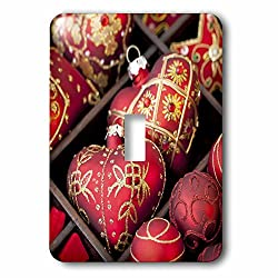 3dRose Andrea Haase Christmas Photography - Gold and red heart shaped Christmas ornaments - Light Switch Covers - single toggle switch (lsp_262940_1)