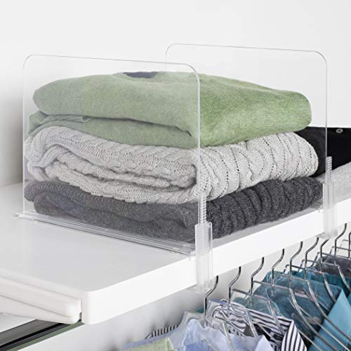 Richards Homewares Acrylic Closet Shelf Divider and Separator for Storage and Organization in Bedroom, Bathroom, Kitchen and Office Shelves, Set of 6 (Closet Sweater Dividers)