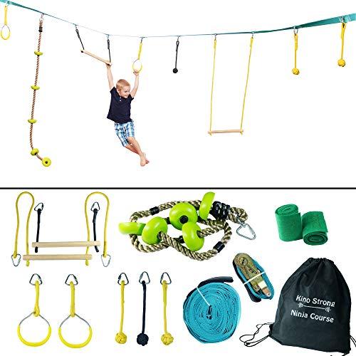Ninja Warrior Training Obstacle Course - Portable 40' Ninja Slackline Monkey Bar Kit with 8 Hanging Obstacles - Climbing Rope, Knot Fists, Rings, Monkey Bars - 250lb Capacity Kids Backyard Ninjaline