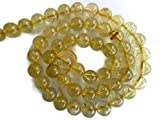 Natural Gold Rutile Quartz Smooth Round Rondelle Beads, 7mm Beads, 15 Inches Strand, Gold Rutilated Quartz Jewelry, GDS919/1 (5 Strand -15'')